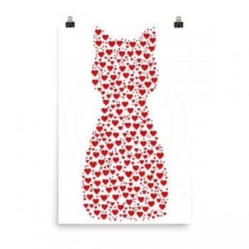 Heart Cat Poster